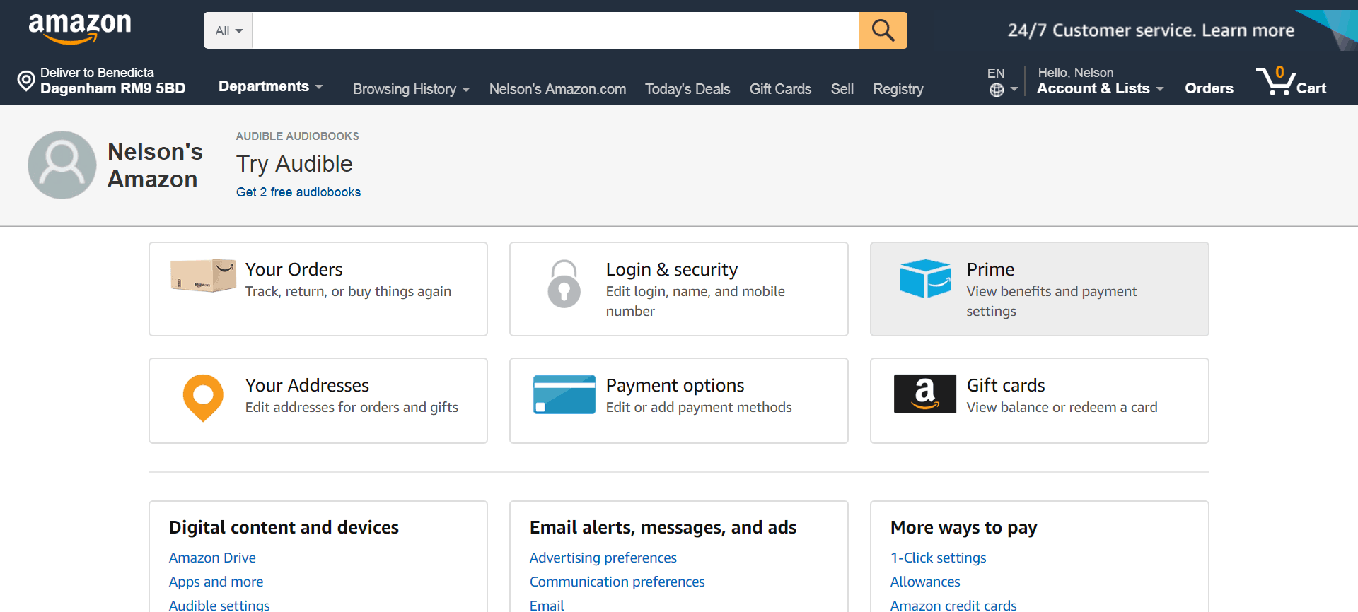 Amazon in Ghana account page